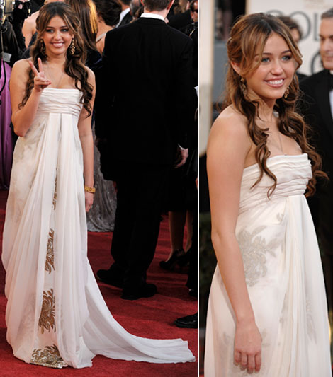 Miley Cyrus Golden Globe awards 2009 Marchesa dress