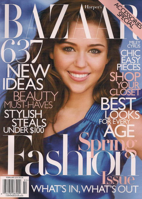Miley Cyrus Harpers Bazaar February 2010 cover