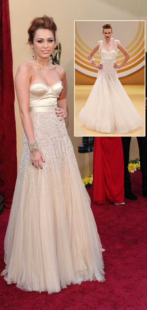 Miley Cyrus Jenny Packham Dress 2010 Oscars