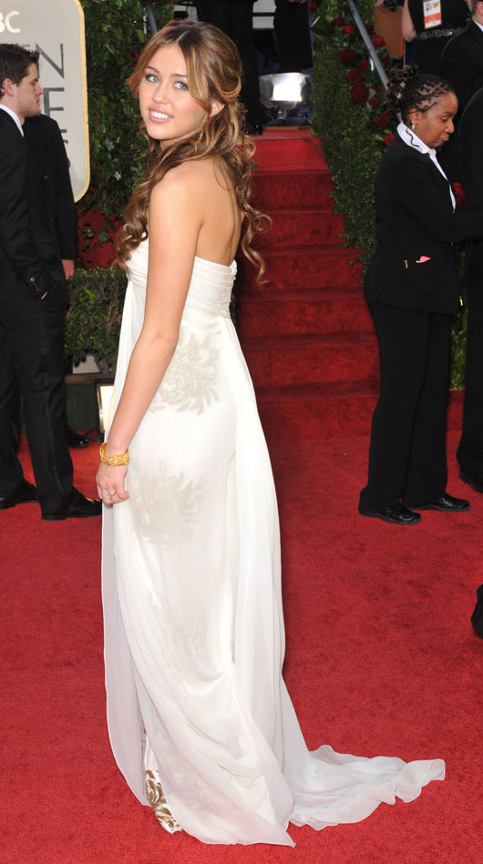 Miley Cyrus Marchesa dress Golden Globe Awards 2009 3