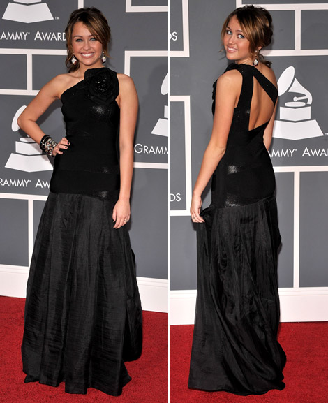 Miley Cyrus In Hervé Léger Max Azria Dress At The Grammys 2009