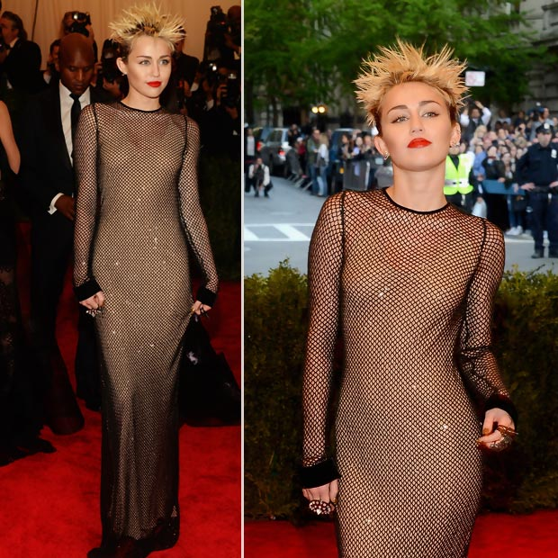 Miley Cyrus mesh black dress 2013 Met Gala