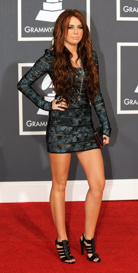 Miley Cyrus mini dress Grammys 2010