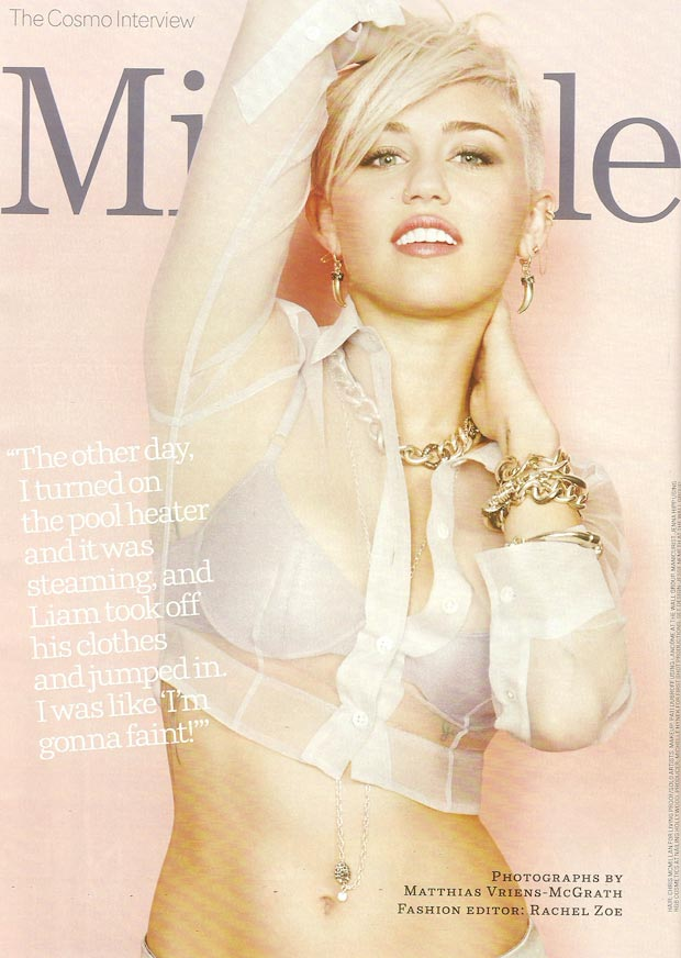 Miley Cyrus sheer top bra Cosmo