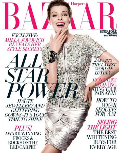 Milla Jovovich Harpers Bazaar Singapore April 2010 cover