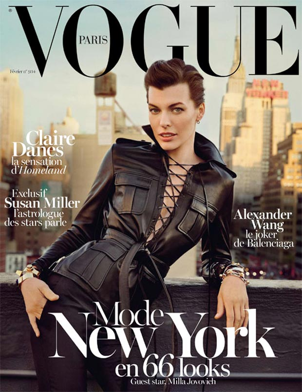 Milla Jovovich Vogue Paris February 2013 Leather Cover