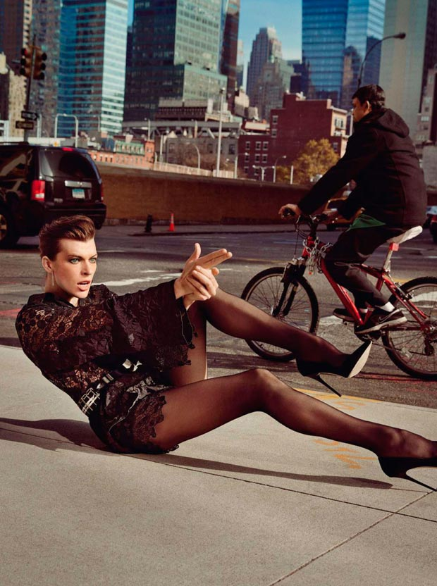 Milla Jovovich Shooting Vogue Paris Pictorial