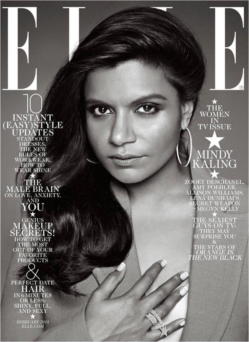 Mindy Kaling portrait Elle Magazine cover