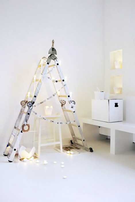 minimal ladder Christmas tree