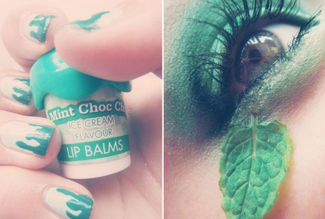 mint nails eyes makeup