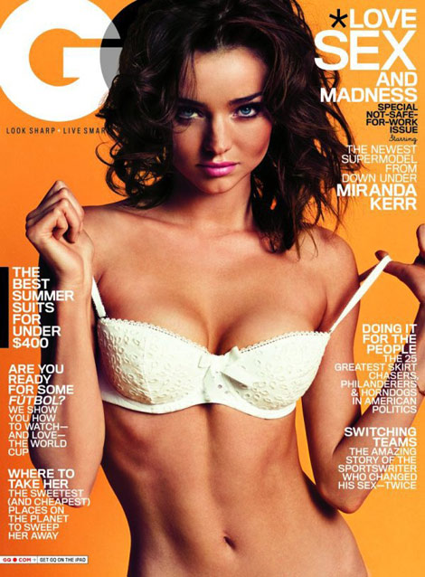 Miranda Kerr white bra GQ June 2010 cover
