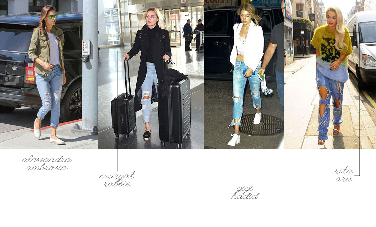 models actresses celebrities wear distressed jeans