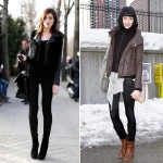 models winter street style leather jacket