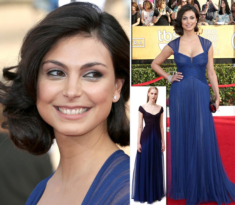 Morena Baccarin Lhuillier blue dress 2014 SAG Awards