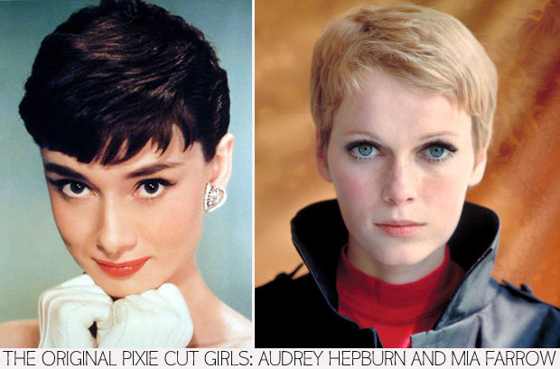 most famous pixie haircuts Audrey Hepburn Mia Farrow