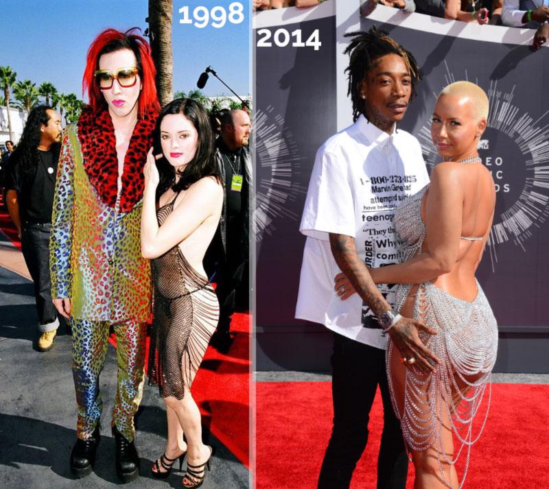 MTV VMAs 1998 Rose McGowan MManson 2014 Amber Rose see through