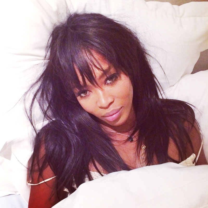 Naomi Campbell in bed without makeup wakeupcall challenge
