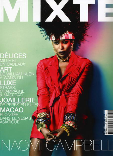 Naomi Campbell Mixte magazine December January 2008 2009 cover