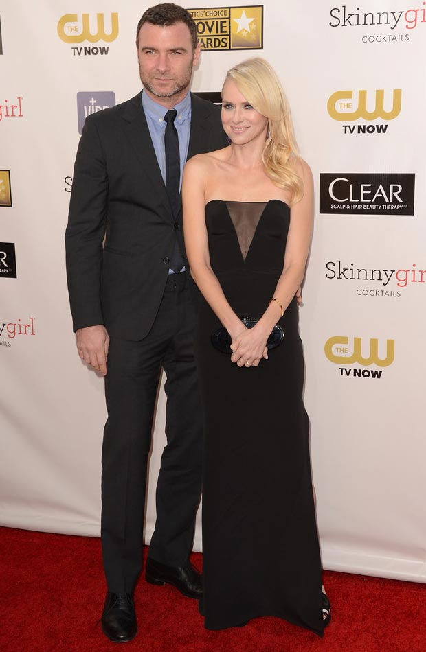 Naomi Watts black Pucci dress with husband Liev Schreiber Critics Choice Awards 2013