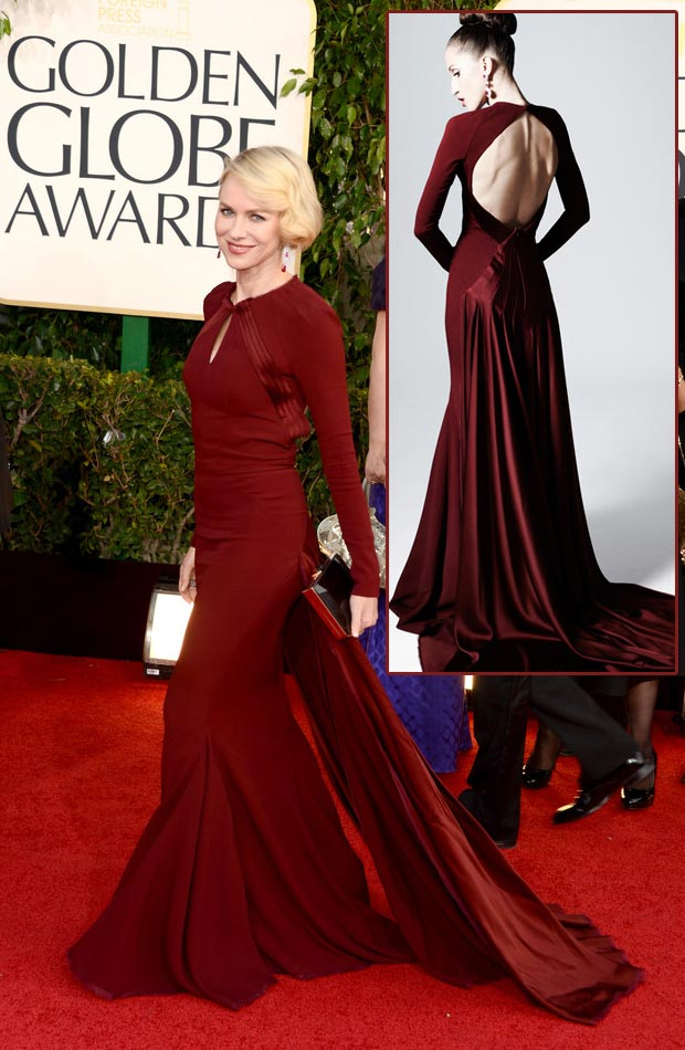 Naomi Watts Zac Posen dark red dress 2013 Golden Globes
