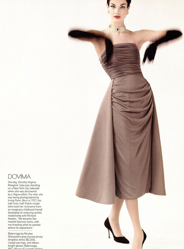 Natalia Vodianova as Dovima Vogue May 09
