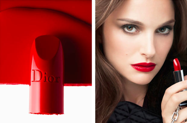 Natalie Portman red lips Rouge Dior ad campaign