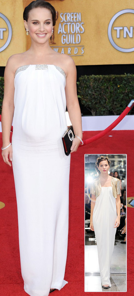 Natalie Portman white Azzaro dress 2011 SAG Awards