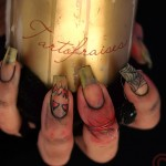 natural nails decorated with Halloween motifs