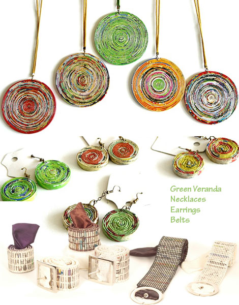 Necklace earrings belts Green Veranda