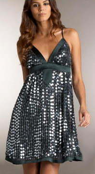 Neiman Marcus Pewter Sequined Silk Party Dress