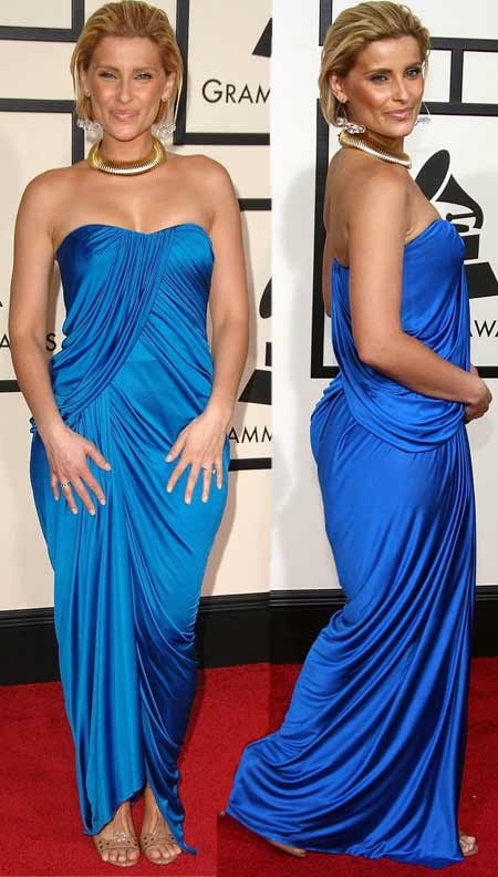 Nelly Furtado's Blue Arthur Mendoza Shower Look for 2008 Grammy Awards