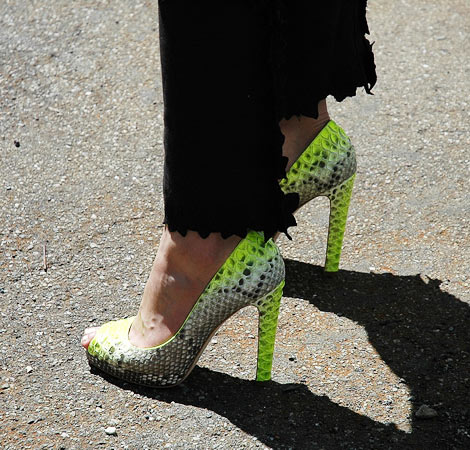 Neon Crocodile Peep Toe Pumps