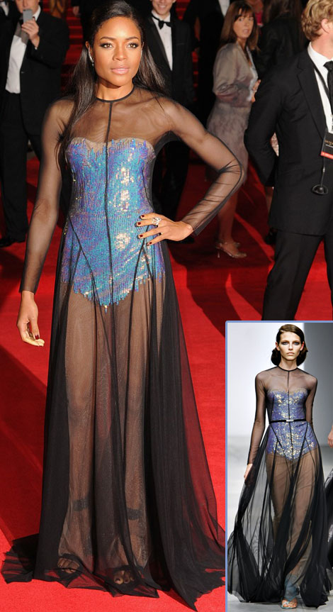 new 007 Skyfall movie premiere Naomie Harris see through dress