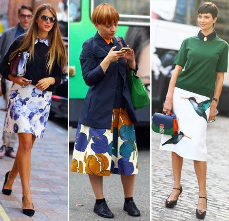 Notable Street Fashion Trend: Printed Skirt & Dark Sweater