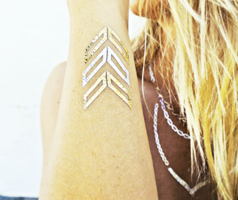 new golden tattoos temporary body art