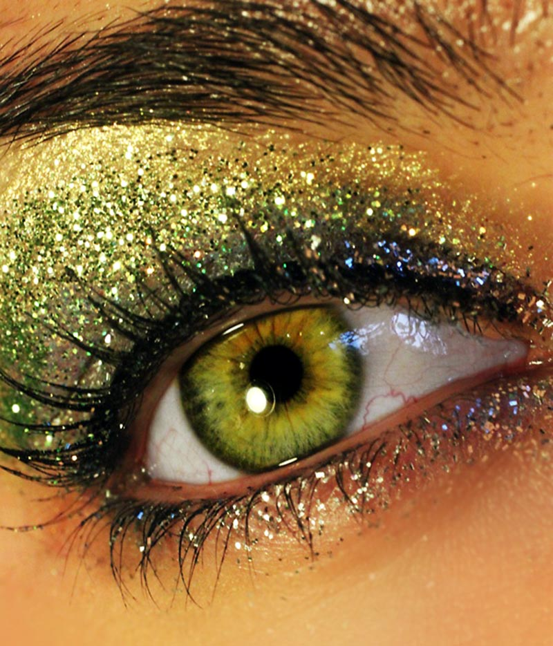 New Year s Eve Party makeup green glitter