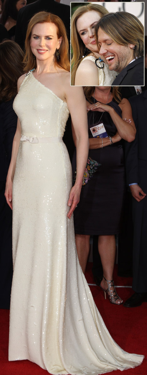 Nicole Kidman beige Prada dress Golden Globes 2011