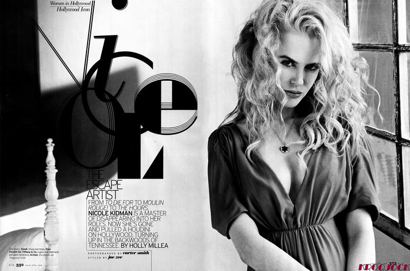 Nicole Kidman Elle US November 2008 Fendi dress black and white photo