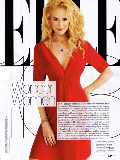 Nicole Kidman Elle US November 2008 Fendi red dress