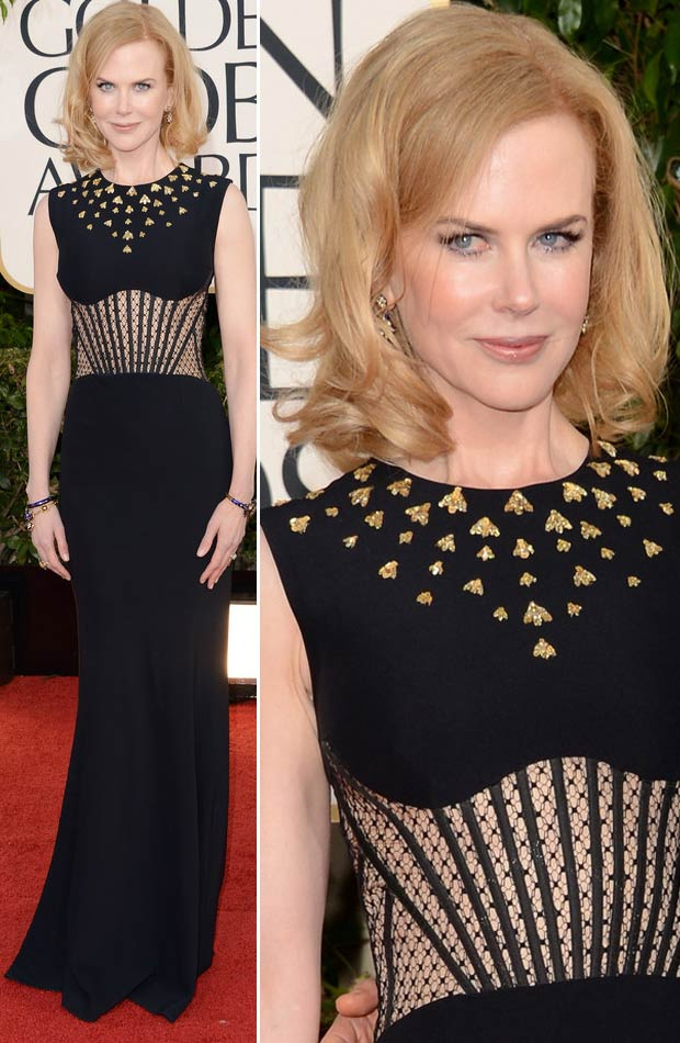 Nicole Kidman McQueen black dress 2013 Golden Globes
