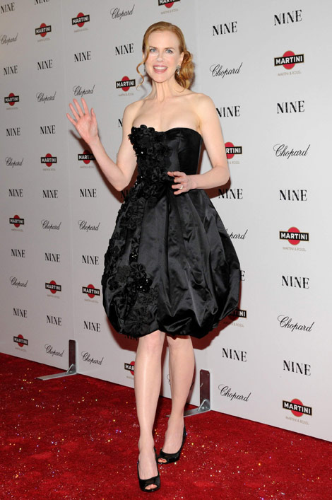 Nicole Kidman powdered nose eyes Nine Premiere