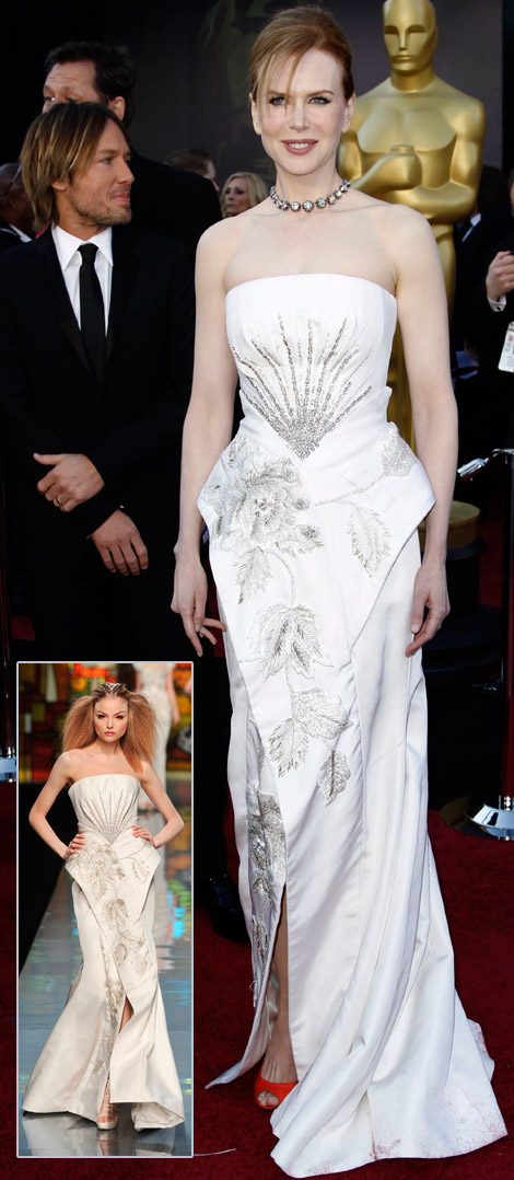 Nicole Kidman White Christian Dior couture Dress 2011 Oscars