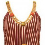 Nikka multicolored striped dress with stone beading