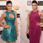 Nina Dobrev Eva Longoria Monique Lhuillier dresses Critics Choice Awards 2013