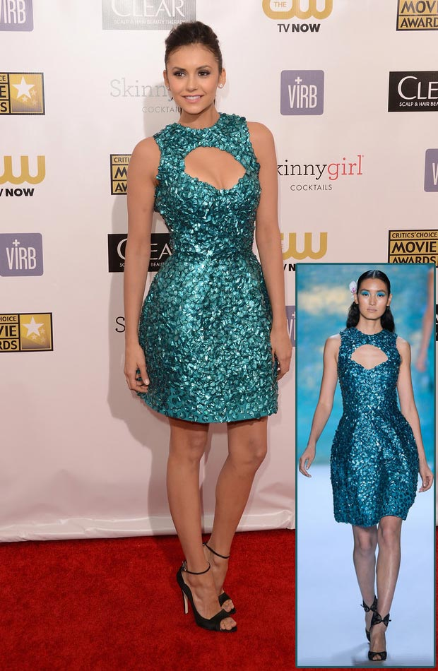 Nina Dobrev Monique Lhuillier teal dress Critics Choice Awards 2013