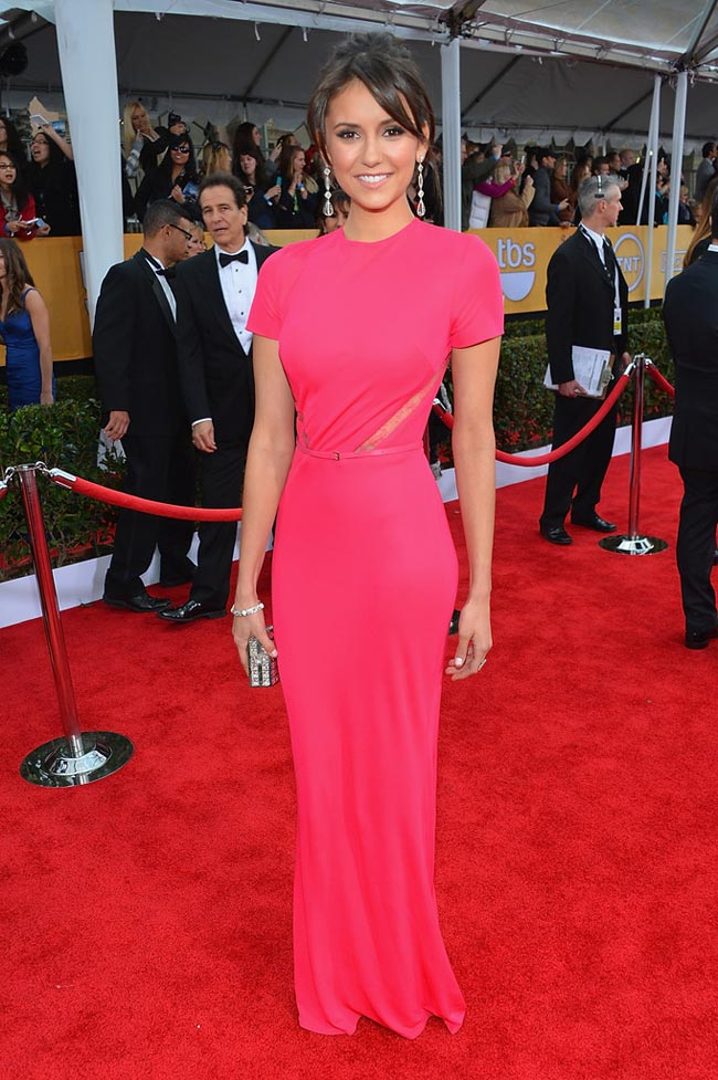 Nina Dobrev pink dress 2013 SAG Awards