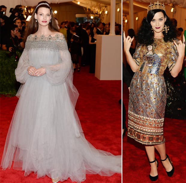 off theme Linda Evangelista Katy Perry outfits 2013 Met Gala