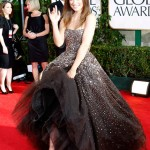 Olivia Wilde Marchesa dress Louboutin shoes Golden Globes 2011
