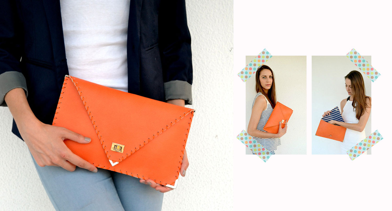 orange clutch etsy