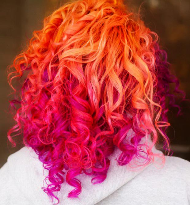 orange pink gradient haircolor